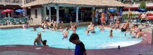 A photo of the blue marlin pool with swim-up bar at Put-in-Bay